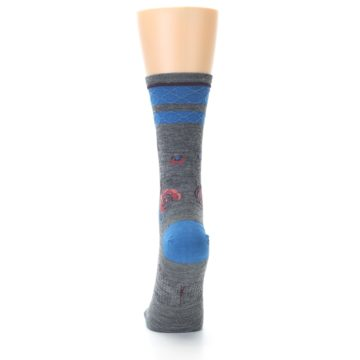 Image of Grey Blue Floral Wool Women's Casual Socks (back-17)