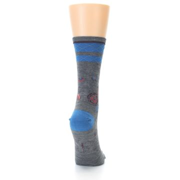 Image of Grey Blue Floral Wool Women's Casual Socks (back-19)
