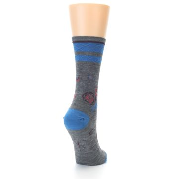 Image of Grey Blue Floral Wool Women's Casual Socks (side-1-back-20)