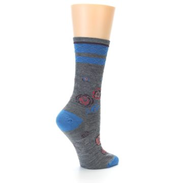 Image of Grey Blue Floral Wool Women's Casual Socks (side-1-back-22)