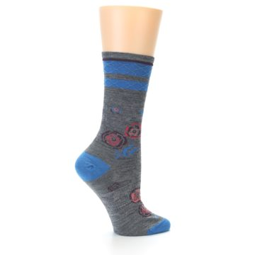 Image of Grey Blue Floral Wool Women's Casual Socks (side-1-23)