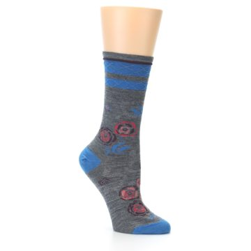 Image of Grey Blue Floral Wool Women's Casual Socks (side-1-25)