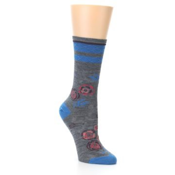 Image of Grey Blue Floral Wool Women's Casual Socks (side-1-26)