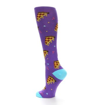 Image of Purple Blue Pizzas Women's Knee High Socks (side-2-13)