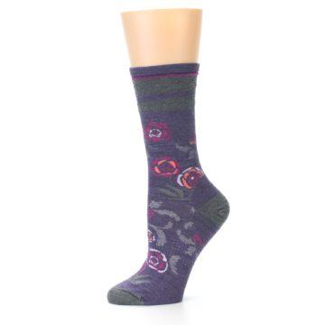 Image of Desert Purple Floral Wool Women's Casual Socks (side-2-10)