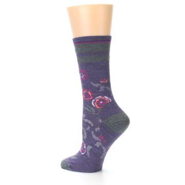 Image of Desert Purple Floral Wool Women's Casual Socks (side-2-13)