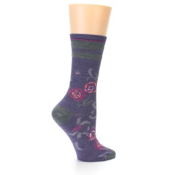 Image of Desert Purple Floral Wool Women's Casual Socks (side-1-23)