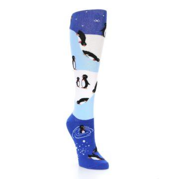 Image of Blue White Penguins Women's Knee High Socks (side-1-front-02)