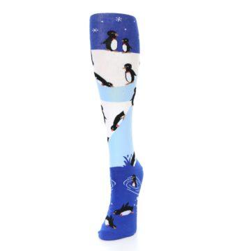 Image of Blue White Penguins Women's Knee High Socks (side-2-front-07)