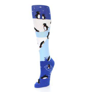 Image of Blue White Penguins Women's Knee High Socks (side-2-front-08)