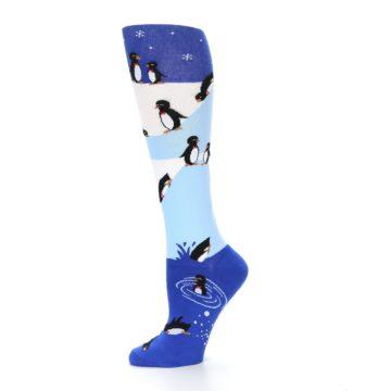 Image of Blue White Penguins Women's Knee High Socks (side-2-11)