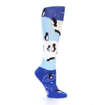 Image of Blue White Penguins Women's Knee High Socks (side-1-26)