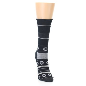 Image of Black Grey Flowers Wool Women's Casual Socks (side-1-front-03)