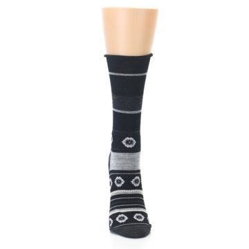 Image of Black Grey Flowers Wool Women's Casual Socks (front-04)