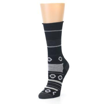 Image of Black Grey Flowers Wool Women's Casual Socks (side-2-front-08)