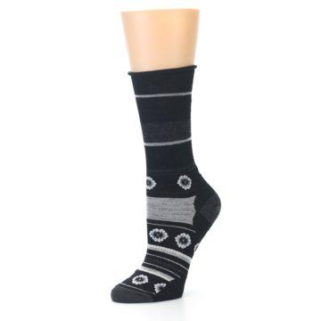 Image of Black Grey Flowers Wool Women's Casual Socks (side-2-09)