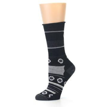 Image of Black Grey Flowers Wool Women's Casual Socks (side-2-10)
