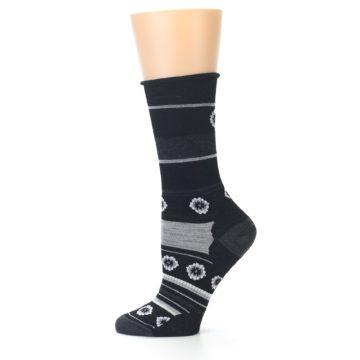 Image of Black Grey Flowers Wool Women's Casual Socks (side-2-11)