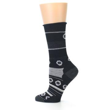 Image of Black Grey Flowers Wool Women's Casual Socks (side-2-12)