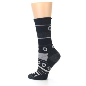 Image of Black Grey Flowers Wool Women's Casual Socks (side-2-13)
