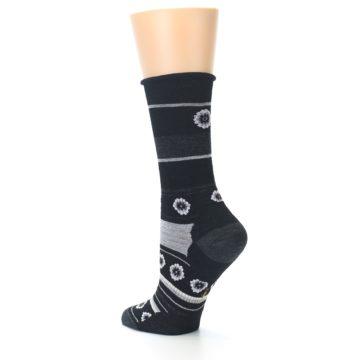 Image of Black Grey Flowers Wool Women's Casual Socks (side-2-back-14)