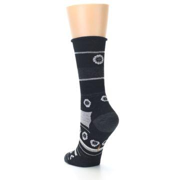 Image of Black Grey Flowers Wool Women's Casual Socks (side-2-back-15)