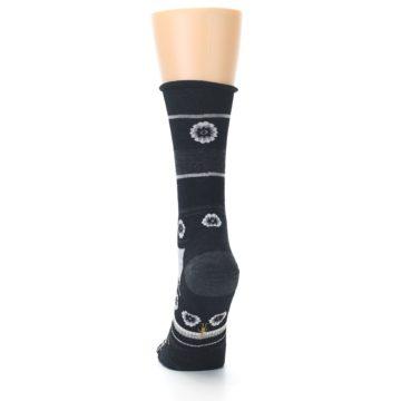 Image of Black Grey Flowers Wool Women's Casual Socks (back-17)