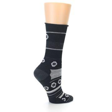 Image of Black Grey Flowers Wool Women's Casual Socks (side-1-23)
