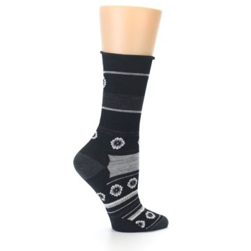 Image of Black Grey Flowers Wool Women's Casual Socks (side-1-24)