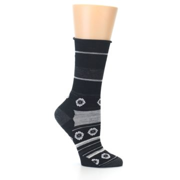 Image of Black Grey Flowers Wool Women's Casual Socks (side-1-25)