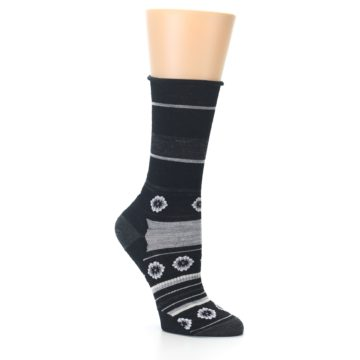 Image of Black Grey Flowers Wool Women's Casual Socks (side-1-26)