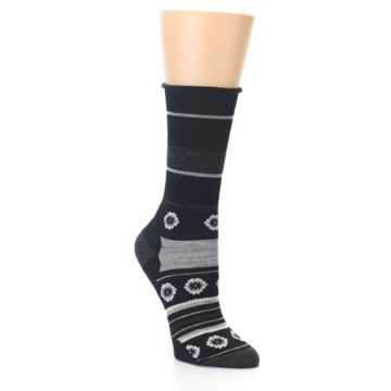 Image of Black Grey Flowers Wool Women's Casual Socks (side-1-27)
