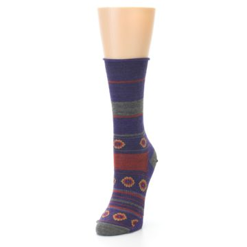 Image of Purple Taupe Flowers Wool Women's Casual Socks (side-2-front-07)