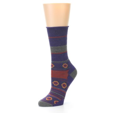 Image of Purple Taupe Flowers Wool Women's Casual Socks (side-2-09)