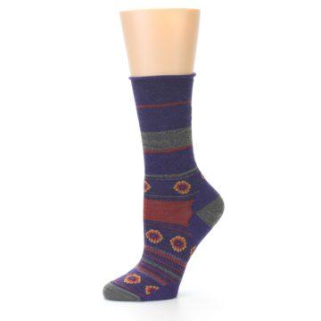 Image of Purple Taupe Flowers Wool Women's Casual Socks (side-2-10)