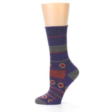 Image of Purple Taupe Flowers Wool Women's Casual Socks (side-2-11)