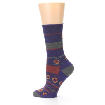 Image of Purple Taupe Flowers Wool Women's Casual Socks (side-2-12)