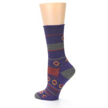 Image of Purple Taupe Flowers Wool Women's Casual Socks (side-2-13)