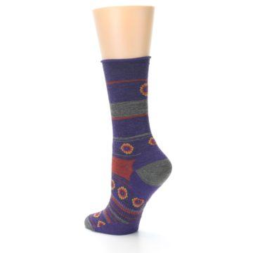 Image of Purple Taupe Flowers Wool Women's Casual Socks (side-2-back-14)
