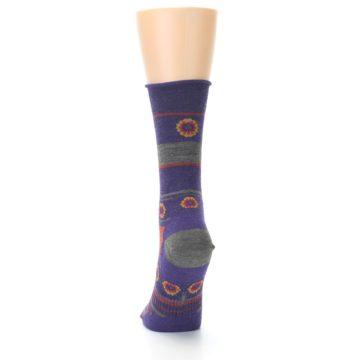 Image of Purple Taupe Flowers Wool Women's Casual Socks (back-17)