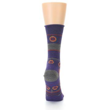 Image of Purple Taupe Flowers Wool Women's Casual Socks (back-19)