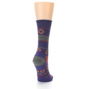 Image of Purple Taupe Flowers Wool Women's Casual Socks (side-1-back-20)