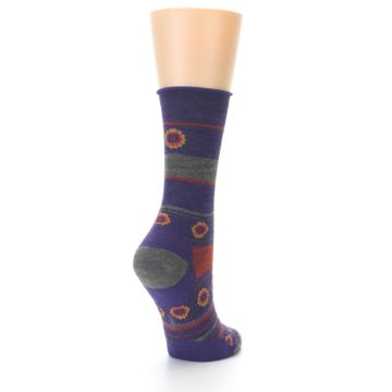 Image of Purple Taupe Flowers Wool Women's Casual Socks (side-1-back-21)