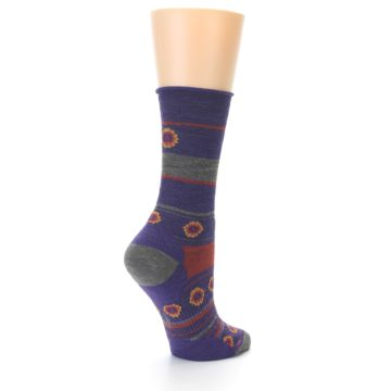 Image of Purple Taupe Flowers Wool Women's Casual Socks (side-1-back-22)