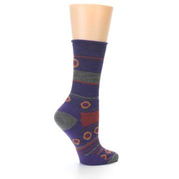 Image of Purple Taupe Flowers Wool Women's Casual Socks (side-1-23)