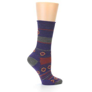 Image of Purple Taupe Flowers Wool Women's Casual Socks (side-1-24)