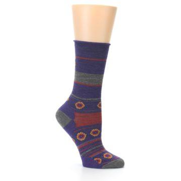 Image of Purple Taupe Flowers Wool Women's Casual Socks (side-1-25)