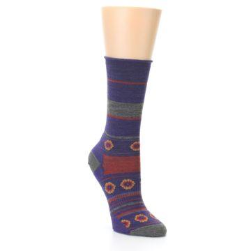 Image of Purple Taupe Flowers Wool Women's Casual Socks (side-1-27)