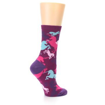 Image of Purple Pink Blue Unicorns Women's Dress Socks (side-1-23)
