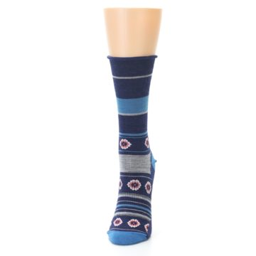 Image of Glacial Blue Flowers Wool Women's Casual Socks (side-2-front-06)